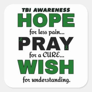 Hope Pray Wish...TBI Square Sticker