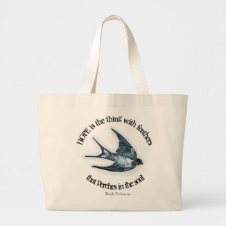 """""""Hope"""" print with Emily Dickinson quote Large Tote Bag"""
