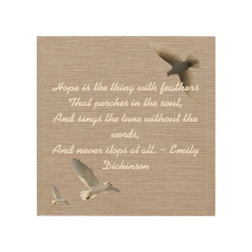 Hope Quote -Birds Wood Print