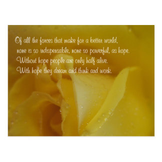 Hope Quote Golden Rose Inspirational Postcard
