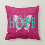 Hope Raspberry Pillow with polka dots & butterfly