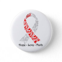 Hope Red and White Awareness Ribbon Button