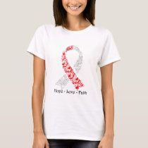 Hope Red and White Awareness Ribbon T-Shirt