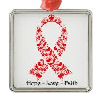 Hope Red Awareness Ribbon Metal Ornament