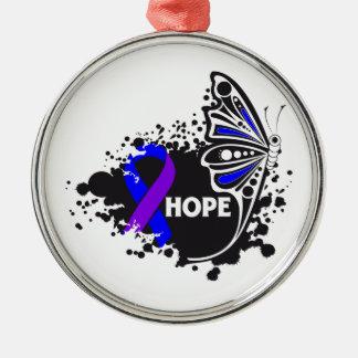 Hope Rheumatoid Arthritis Butterfly Round Metal Christmas Ornament