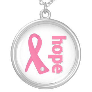 Hope Ribbon - Breast Cancer Round Pendant Necklace