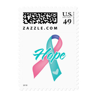 Hope Ribbon - Thyroid Cancer Postage Stamp