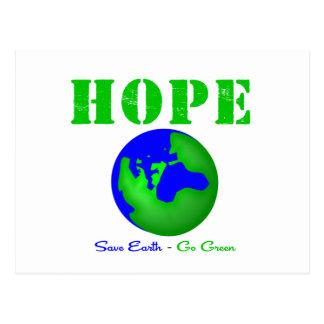Hope Save Earth Go Green Postcard