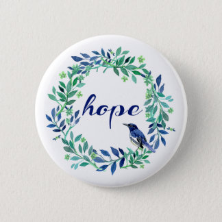 Hope Saying With Watercolor Wreath And Bird Button