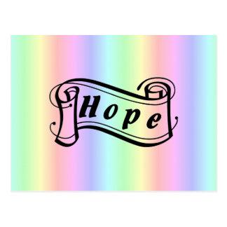Hope scroll on rainbow postcard