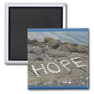 Hope Seashell Word Art 2 Inch Square Magnet