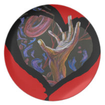Hope - Sickle Cell Heart Art Melamine Plate
