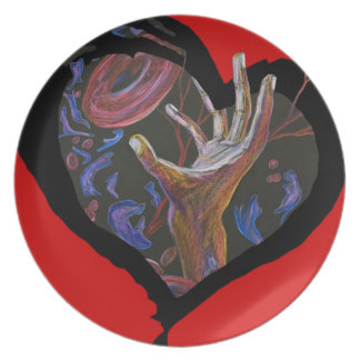 Hope - Sickle Cell Heart Art Melamine Plate