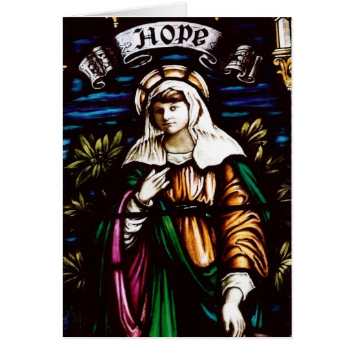 HOPE STAINED GLASS WINDOW GREETING CARD
