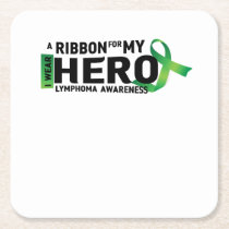 Hope Strong Lymphoma Awareness Support Gift Square Paper Coaster