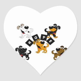 Hope (Surrounded by Pups) Heart Sticker