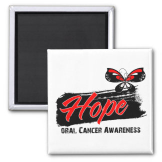 Hope Tattoo Butterfly Oral Cancer 2 Inch Square Magnet
