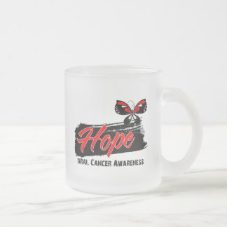 Hope Tattoo Butterfly Oral Cancer 10 Oz Frosted Glass Coffee Mug
