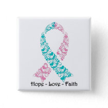 Hope Teal and Pink Awareness Ribbon Button