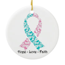 Hope Teal and Pink Awareness Ribbon Ceramic Ornament