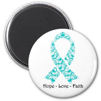 Hope Teal Awareness Ribbon 2 Inch Round Magnet