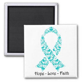 Hope Teal Awareness Ribbon 2 Inch Square Magnet