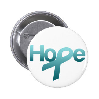 Hope Teal Ribbon Ovarian Cancer Awareness Buttons