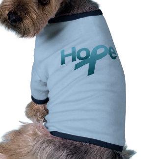 Hope Teal Ribbon Ovarian Cancer Awareness Doggie Tshirt