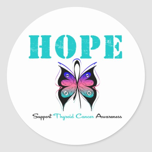 Hope Thyroid Cancer Butterfly Classic Round Sticker
