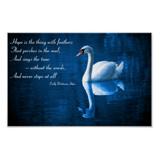 Hope White Swan on Blue Waters Poster