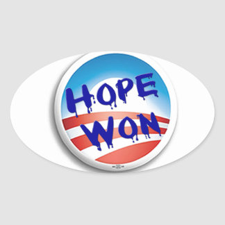 Hope Win Oval Stickers