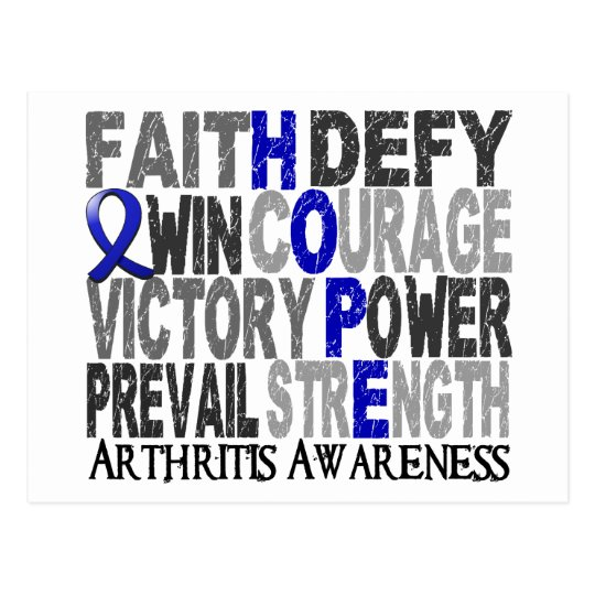 Hope Word Collage Arthritis Postcard