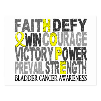Hope Word Collage Bladder Cancer Postcard