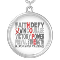 Hope Word Collage Blood Cancer Silver Plated Necklace