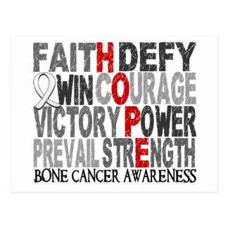 Hope Word Collage Bone Cancer Postcard