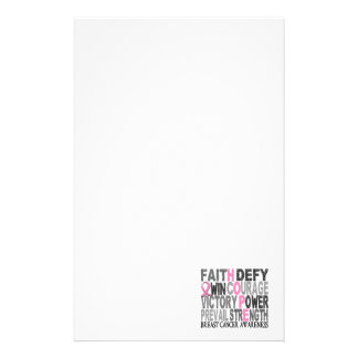 Hope Word Collage Breast Cancer Stationery