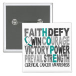 Hope Word Collage Cervical Cancer 2 Inch Square Button