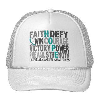 Hope Word Collage Cervical Cancer Mesh Hats