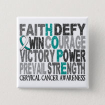Hope Word Collage Cervical Cancer Pinback Button