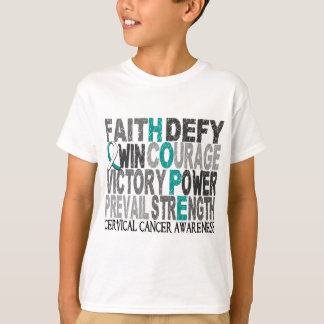 Hope Word Collage Cervical Cancer T-Shirt