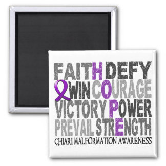 Hope Word Collage Chiari Malformation 2 Inch Square Magnet