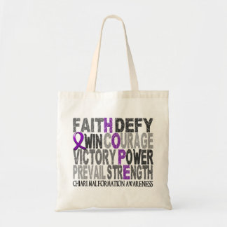 Hope Word Collage Chiari Malformation Canvas Bags