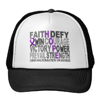 Hope Word Collage Chiari Malformation Trucker Hats