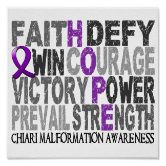 Hope Word Collage Chiari Malformation Poster