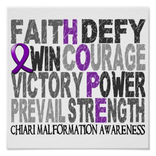 Hope Word Collage Chiari Malformation Posters