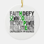 Hope Word Collage Depression Christmas Ornament