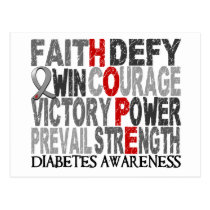 Hope Word Collage Diabetes Postcard