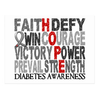 Hope Word Collage Diabetes Postcard
