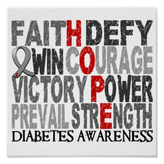 Hope Word Collage Diabetes Poster
