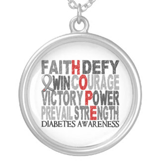 Hope Word Collage Diabetes Silver Plated Necklace